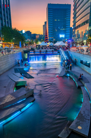Cheonggyecheon Stream is a manmade waterway that flows through the northern part of Seoul, South Korea.