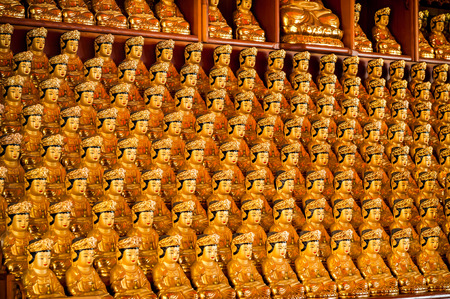 bongeunsa: Rows and rows of little golden Buddha statues at Bongeunsa Temple in Seoul, South Korea. Editorial