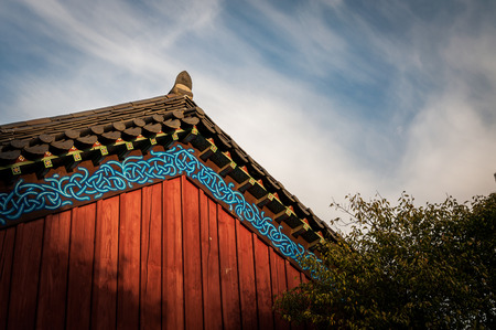 bongeunsa: Wisps of clouds pass over Bongeunsa Temple in Seoul, South Korea. Stock Photo