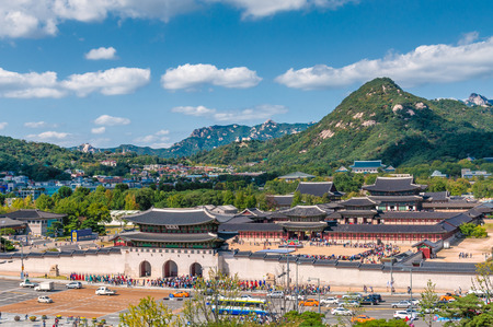 south korea: Aerial view of Gyeongbokgung Palace in Seoul, South Korea.
