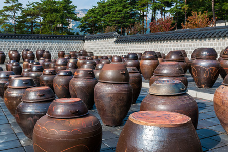 fermenting: Dozens of large clay pots hold fermenting kimchi at Gyeongbokgung Palace in Seoul, South Korea. Stock Photo