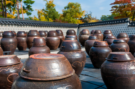 korean culture: Dozens of large clay pots hold fermenting kimchi at Gyeongbokgung Palace in Seoul, South Korea. Stock Photo