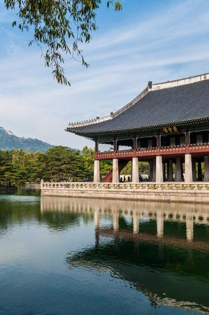 korean culture: Gyeonghoeru Pavilion at Gyeongbokgung Palace in Seoul, South Korea.