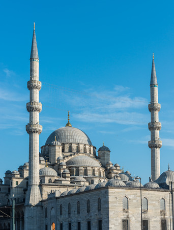 cami: The minarets and central dome of the New Mosque (Yeni Cami) in Istanbul, Turkey. Stock Photo