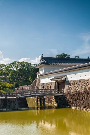 odawara: A small footbridge passes over the moat that surrounds Odawara Castle in Odawara, Japan.