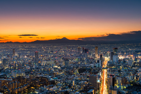 urban sprawl: The sun sets over the sprawling cityscape of Tokyo, with Mount Fuji in the far distance.