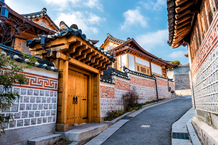 Traditional Korean style architecture at Bukchon Hanok Village in Seoul, South Korea.