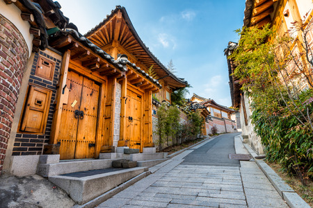 village: Traditional Korean style architecture at Bukchon Hanok Village in Seoul, South Korea.