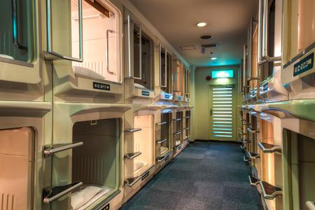 Capsule hotel in Japan.
