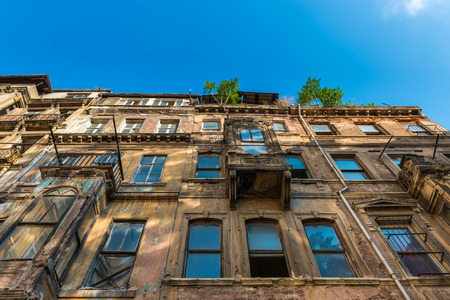 decrepit: One of the many old and decrepit buildings of Istanbul.