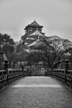 osaka castle: Black and white of Osaka Castle on a gloomy morning.