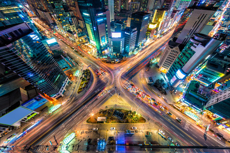 sprawl: Looking down on a major interstection at night in Seoul, South Korea. Stock Photo