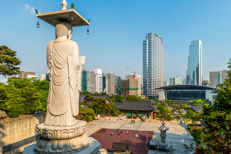 bongeunsa: A giant Buddha statue looks out over Bongeunsa Temple in Seoul, South Korea.