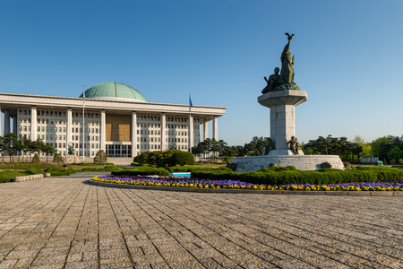 govern: The National Assembly of South Korea on a sunny spring morning. Stock Photo