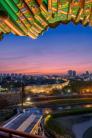 korean culture: The sun sets behind Hwaseong Fortress in Suwon, South Korea.