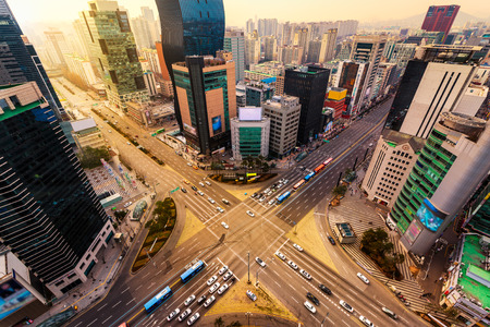 Seoul: Rush hour traffic zips through an intersection in the Gangnam district of Seoul, South Korea.