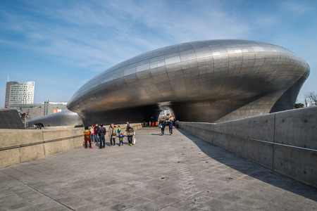 curving lines: Modern architecture at the Dongdaemun Design Plaza. Photo taken February 20, 2015 in Seoul, South Korea.