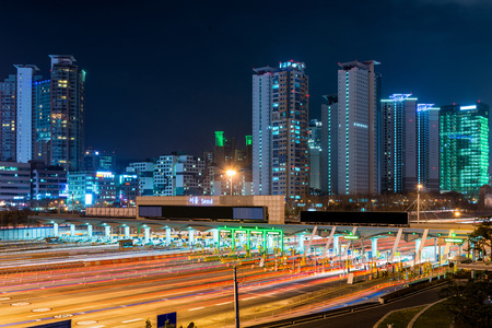 seoul: Traffic blurs through a toll booth in Seoul, South Korea.