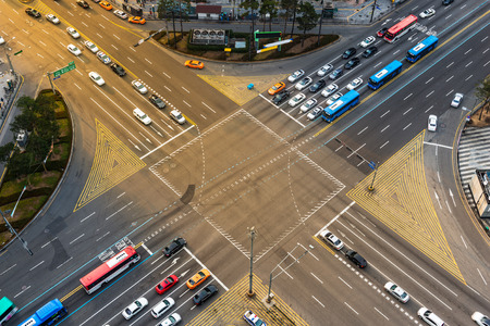 gangnam: Rush hour traffic zips through an intersection in the Gangnam district of Seoul, South Korea.