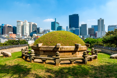 grave site: The Seonjeongneung Royal Tombs in the heart of downtown Seoul.