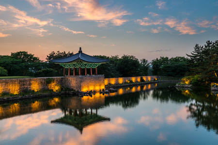 pond: The pavilions of Anapji Pond lit up as evening comes on in Gyeongju, South Korea. Editorial