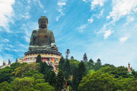 hong kong island: The enormous Tian Tan Buddha at Po Lin Monastery in Hong Kong. Stock Photo