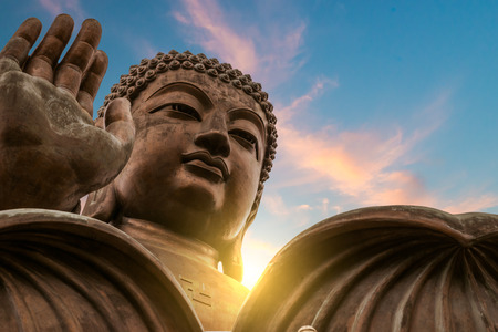 The enormous Tian Tan Buddha at Po Lin Monastery in Hong Kong. Stock Photo