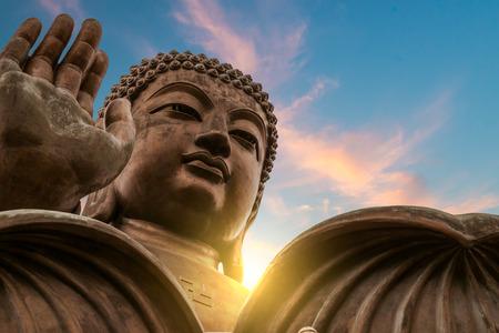 statues: The enormous Tian Tan Buddha at Po Lin Monastery in Hong Kong. Stock Photo