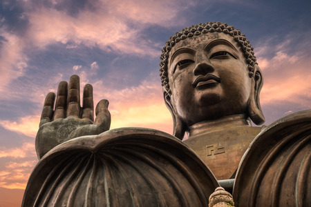 buddha tranquil: The enormous Tian Tan Buddha at Po Lin Monastery in Hong Kong. Stock Photo