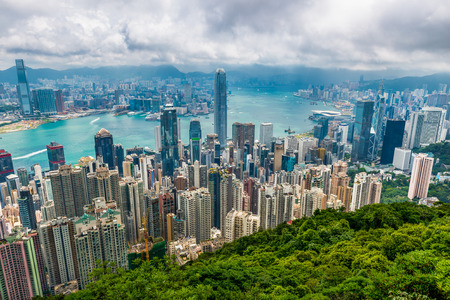 sprawl: The view of Hong Kong from Victoria Peak. Stock Photo