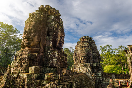 prasat bayon: The ancient stone faces of the Bayon within the Angkor Thom temple complex in Siem Reap, Cambodia.