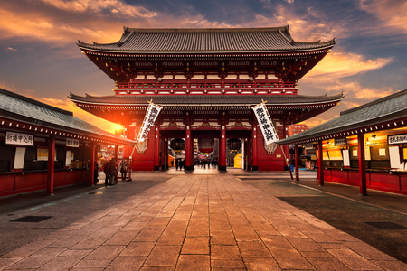 tokyo japan: Banners are hung around Sensoji Temple in celebration of the New Year. Sensoji Temple is the oldest temple in Tokyo, and one of its most famous landmarks.