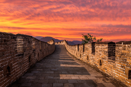 great wall: The Great Wall of China at Mutianyu.