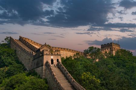 De Chinese Muur bij Mutianyu. Stockfoto