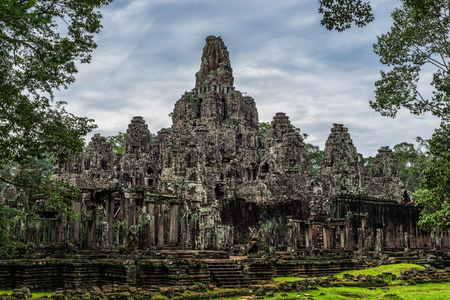 siem reap: The ancient ruins of the Bayon within the Angkor Thom temple complex in Siem Reap, Cambodia. Stock Photo