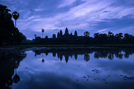 historical landmark: A blue dawn over Angkor Wat in Siem Reap, Cambodia. Stock Photo