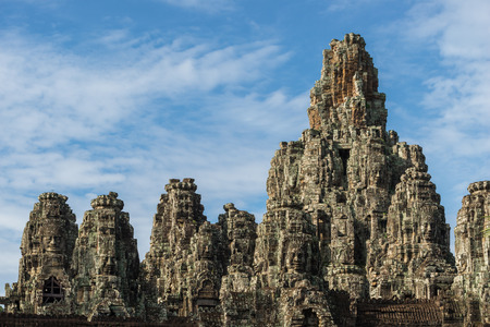 bayon: The ancient ruins of the Bayon within the Angkor Thom temple complex in Siem Reap, Cambodia. Stock Photo