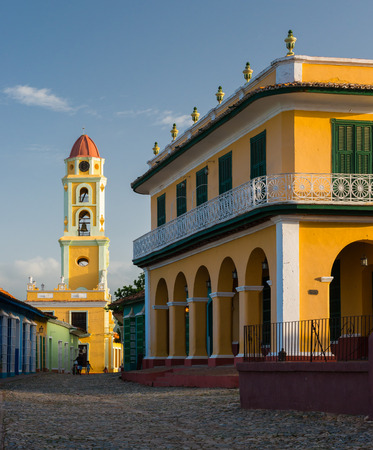 colonial church: The Spanish colonial architecture of the Plaza Mayor in Trinidad, Cuba. Stock Photo