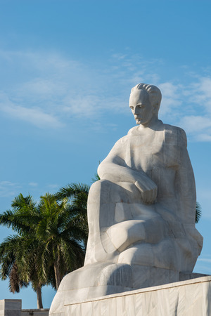 havana cuba: A statue of Jose Marti stands at the Plaza de la Revolucion in Havana, Cuba. Stock Photo