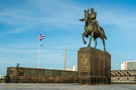 garcia: A statue of Calixto Garcia, a three star general who fought for Cuban independence, stands along the Malecon in Havana, Cuba.