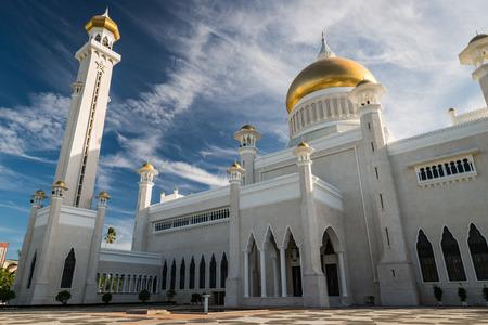 ali: Late afternoon over Bandar Seri Begawan, Brunei, standing in the courtyard of the Sultan Omar Ali Saifuddin Mosque.