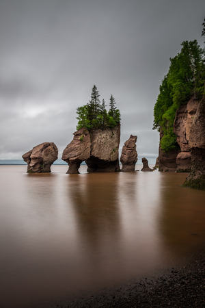 the bay: A long exposure of the Flowerpot Rocks, part of the Hopewell Rocks, in New Brunswick, Canada.