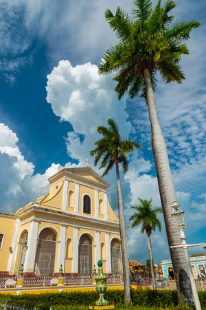 history architecture: The Church of the Holy Trinity in the Plaza Mayor area of Trinidad, Cuba.