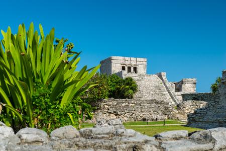 tulum: El Castillo, the central piece of the ancient Mayan ruins at Tulum, Mexico.