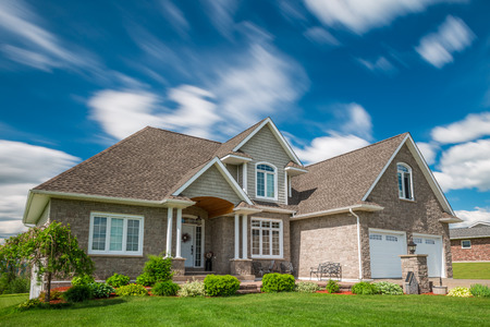 property development: A beautiful new house on a hill in Canada. Stock Photo