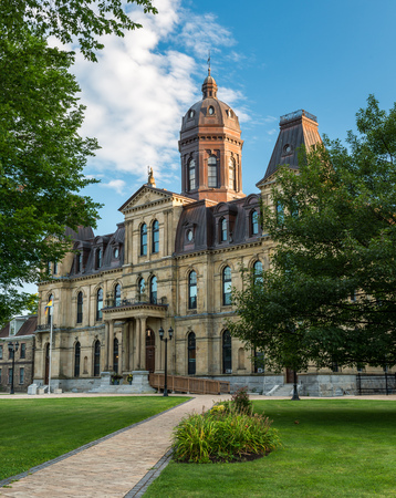 nb: The New Brunswick Legislative Building in Fredericton, New Brunswick. The Second Empire style building opened in 1882. Editorial