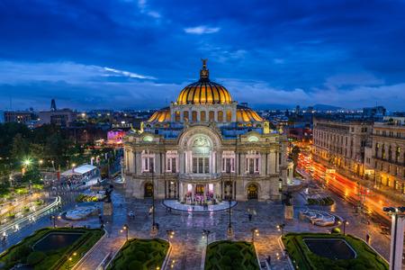 city building: Dusk falls over the Palacio de Bellas Artes in Mexico City.