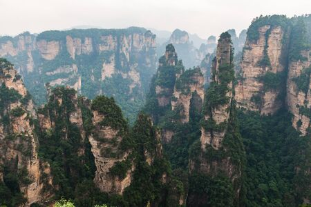 Natural sandstone formations in Zhangjiajie National Forest Park in Hunan Province, China.