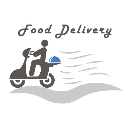 Delivery Boy Ride Scooter Motorcycle Service, Order, Worldwide Shipping, Fast and Free Transport Stock Illustratie
