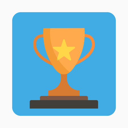 Trophy cup, award, icon in flat style Stock Illustratie